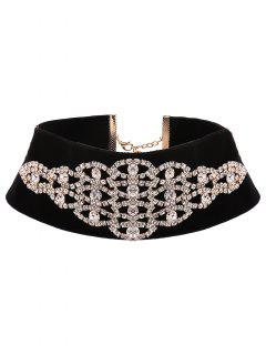Rhinestone Eye Velvet Choker - Golden