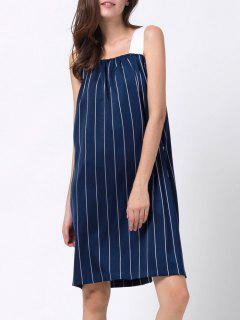 Striped Single-Breasted Tank Dress - Blue Xs