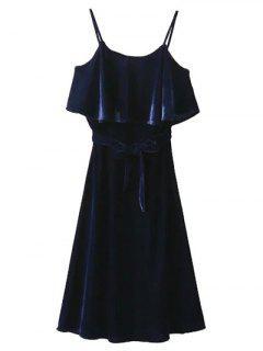 Slip Belted Ruffle Velvet Swing Dress - Purplish Blue S