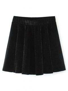 Velvet A Line Mini Skirt - Black M