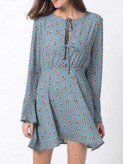 Vestido De Gasa Con Mangas Florales Minúsculas - Azul Hielo Xs