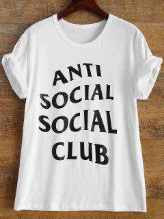 Short Sleeve Anti Social Graphic Tee - White S