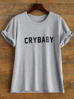Short Sleeve Crybaby Graphic Tee - Gray L