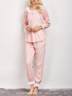 Striped Smock Top And Pants Pajama - Pink L
