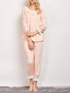 Striped Smock Top And Pants Pajama - Apricot L