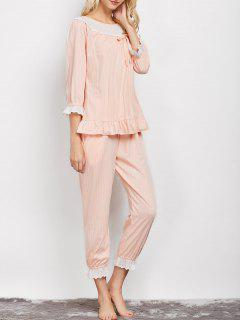 Lacework Smock Top And Pants Pajama - Apricot L