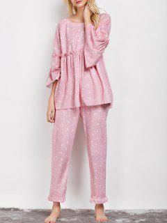Letter Ruffles Smock Top And Pants Pajama - Pink L