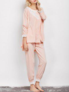 Striped Swing Top And Pants Pajama - Apricot L