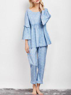 Letter Ruffles Smock Top And Pants Pajama - Light Blue L