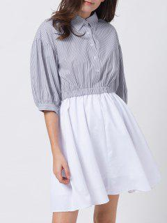 A Line Stripes Puff Sleeve Shirt Dress - Grey And White M