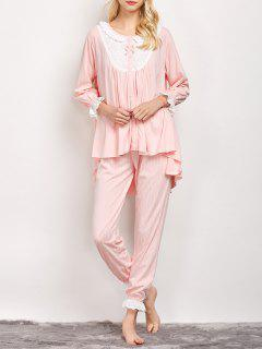 Striped Swing Top And Pants Pajama - Light Pink L