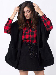Manteau Ample Entaillé à Capuchon Avec Poches - Noir Xs