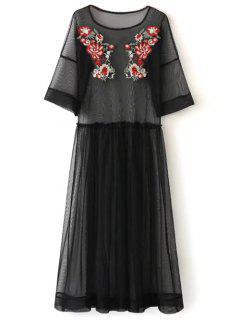 Robe Longue Brodée Et Transparente De Tulle - Noir S