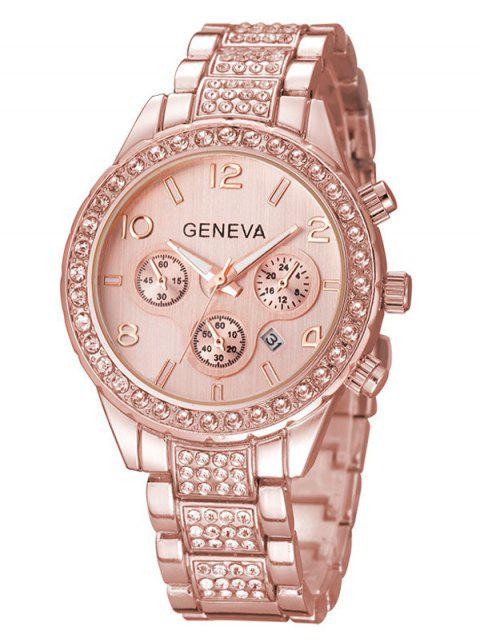 Strass Metall-Quarz-Armbanduhr Chronographen - Rosé-Gold  Mobile
