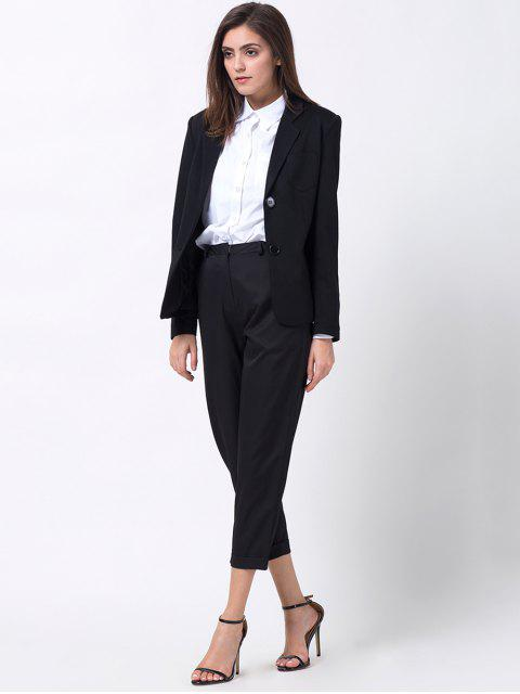 lady Back Slit Lapel Collar Blazer - BLACK S Mobile