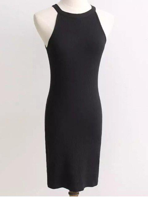 lady Ribbed Sleeveless Knitted Bodycon Dress - BLACK ONE SIZE Mobile