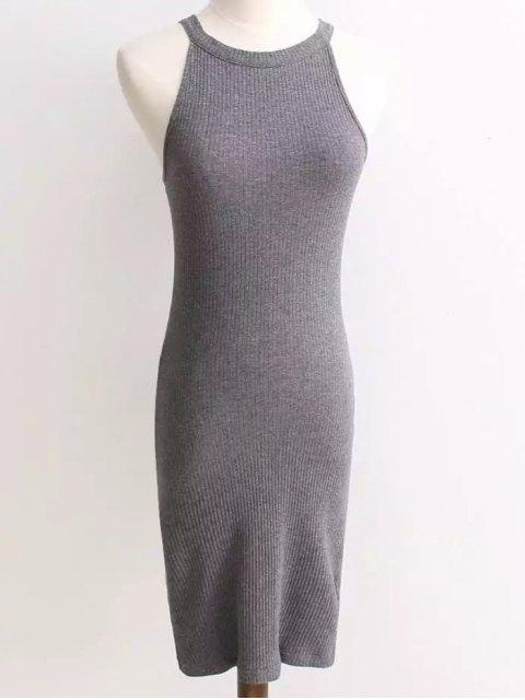 best Ribbed Sleeveless Knitted Bodycon Dress - GRAY ONE SIZE Mobile