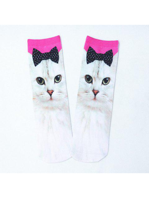 best Bowknot Cat 3D Printed Crazy Socks - WHITE  Mobile