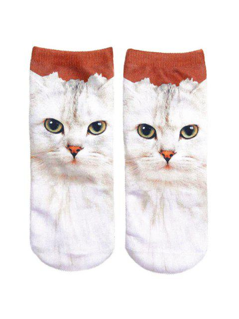 outfit 3D Cat Printed Crazy Socks - WHITE  Mobile