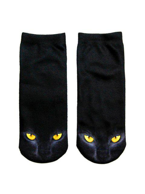 outfits 3D Black Cat Printed Crazy  Ankle Socks - BLACK  Mobile