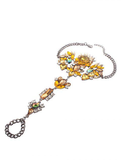 affordable Rhinestone Statement Slave Hippie Anklet - YELLOW  Mobile