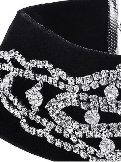 women Rhinestone Velvet Fake Collar Necklace -   Mobile