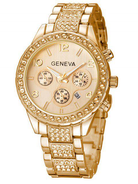 online Rhinestoned Quartz Wrist Watch - GOLDEN  Mobile