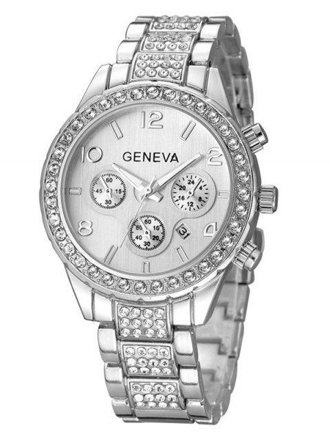 new Rhinestoned Quartz Wrist Watch - SILVER  Mobile