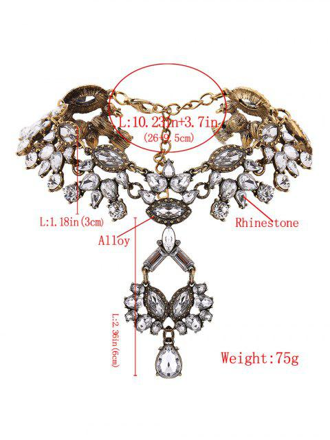 chic Rhinestone Pendant Statement Necklace - GOLDEN  Mobile
