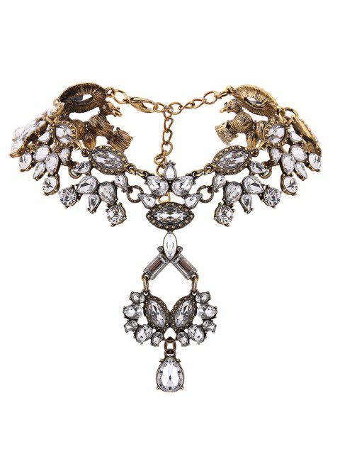 chic Rhinestone Pendant Statement Necklace - GOLDEN  Mobile