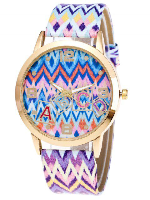 fancy Wave Print Letter Quartz Watch - BLUE  Mobile