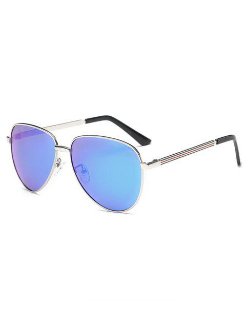 women Stripy Leg Metal Mirrored Pilot Sunglasses - ICE BLUE  Mobile