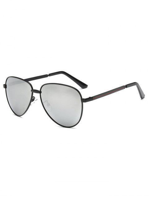 online Stripy Leg Metal Mirrored Pilot Sunglasses - BLACK  Mobile