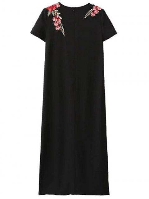 outfits Side Slit Floral Embroidered Dress - BLACK S Mobile