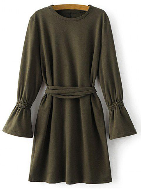 fashion Bell Cuff Sleeve Tie Waist Dress - ARMY GREEN L Mobile
