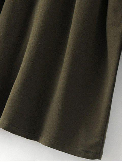 affordable Bell Cuff Sleeve Tie Waist Dress - BLACK S Mobile