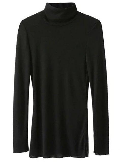 outfit Funnel Neck Fitted Side Slit T-Shirt - BLACK M Mobile
