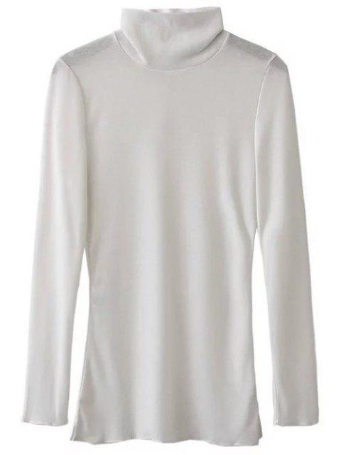 latest Funnel Neck Fitted Side Slit T-Shirt - WHITE S Mobile