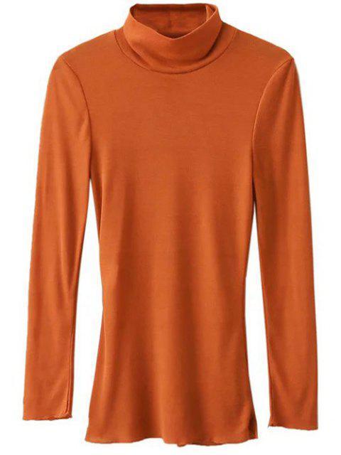 chic Funnel Neck Fitted Side Slit T-Shirt - ORANGE S Mobile