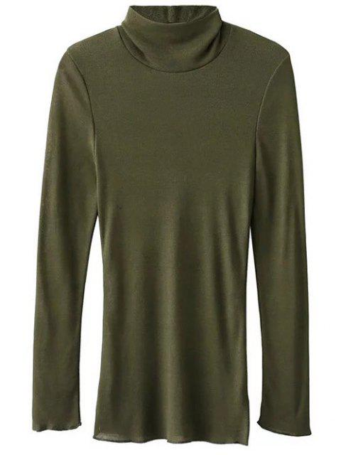 sale Funnel Neck Fitted Side Slit T-Shirt - ARMY GREEN S Mobile