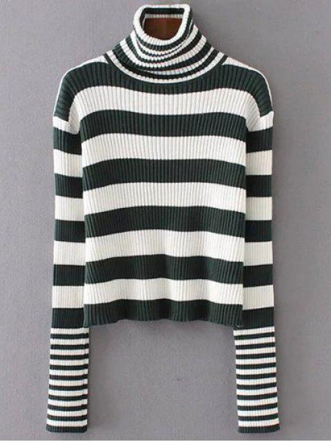outfits Funnel Neck Ribbed Striped Sweater - BLACKISH GREEN ONE SIZE Mobile