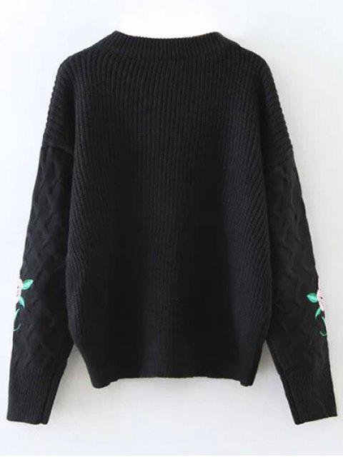 affordable Chunky Embroidered Oversized Sweater - BLACK ONE SIZE Mobile