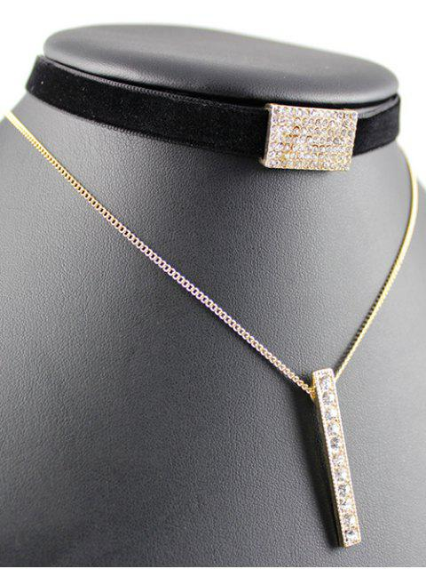 lady Layered Velvet Bar Choker -   Mobile