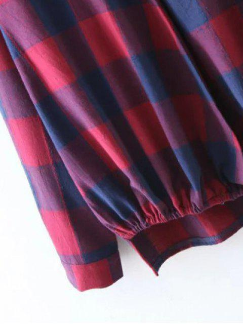 affordable Plaid Crossover Blouse - BLUE AND RED M Mobile