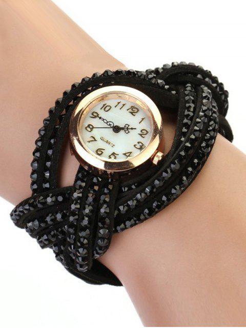 womens Rhinestone Number Twist Bracelet Watch - BLACK  Mobile