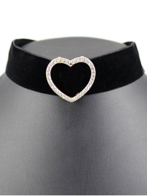 online Heart Velvet Wide Choker - BLACK  Mobile