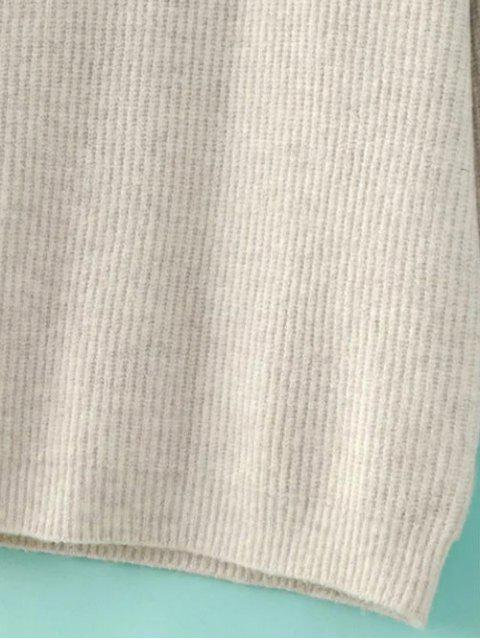 fancy Funnel Neck Oversized Sweater Dress - OFF-WHITE S Mobile