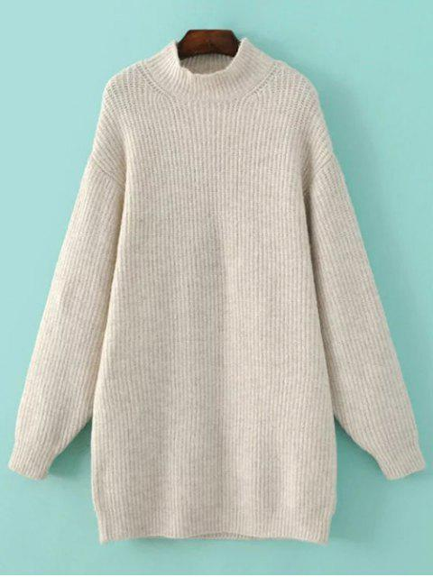 fashion Funnel Neck Oversized Sweater Dress - OFF-WHITE L Mobile
