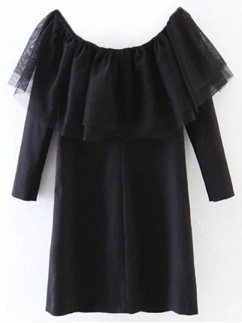new Tunic Tulle Flounce Top - BLACK L Mobile