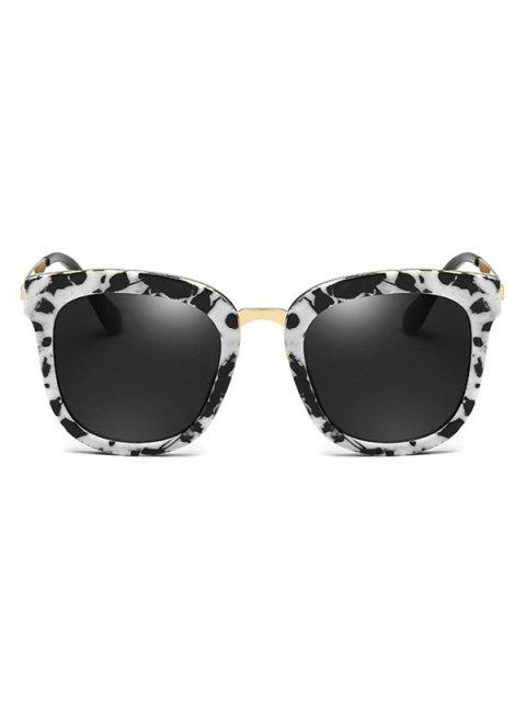 fashion Cow Pattern Butterfly Frame Oversized Sunglasses - WHITE AND BLACK  Mobile